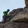 Brad waits after the traverse...