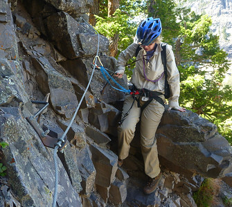 Rena on the Via Ferrata.