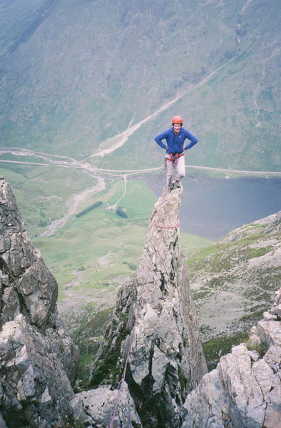 Alex on Bell's Pinnacle Buttress, Aonach Dubh, Glen Coe