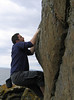 Fraser bouldering at Garheugh Point