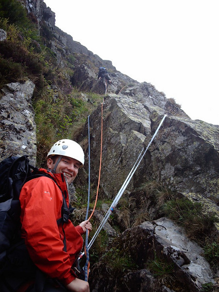 Climbing at Pavey Ark in the Lakes.