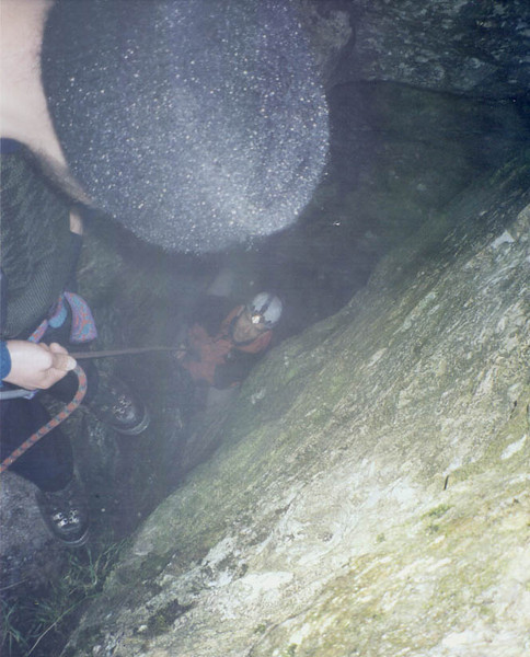 Is it climbing or caving? Climbing out the Cobbler Cave, high up on the hill. One for a wet day!