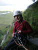 Martine at the top of the first pitch of Little Chamonix in Borrowdale, Lake District.
