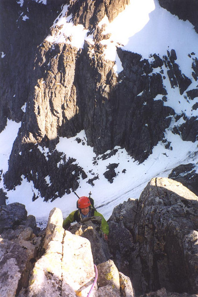 Climbing up onto the Great Tower from the Eastern Traverse on Tower Ridge, Ben Nevis.