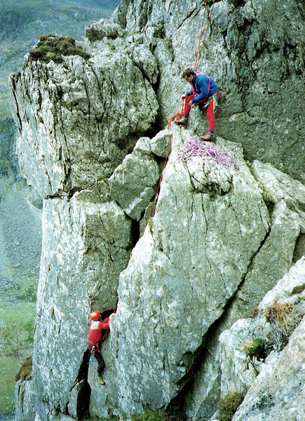 Old pic of Brian and Bob on Little Chamonix, Borrowdale