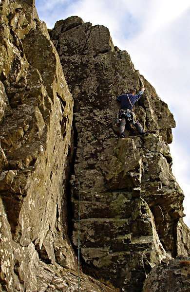 Alex leading Green Gully at The Quadrocks, in the hills above Largs