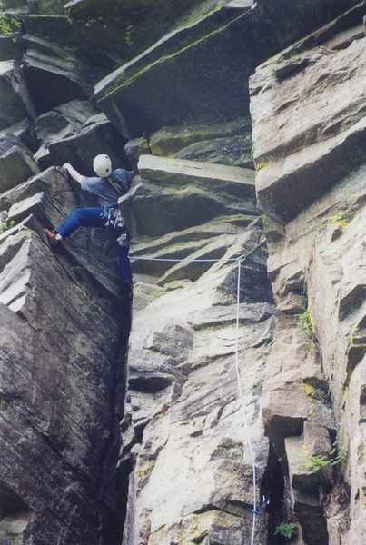 Crag near Granton-on-Spey, Huntly's Cave. Jon climbing.