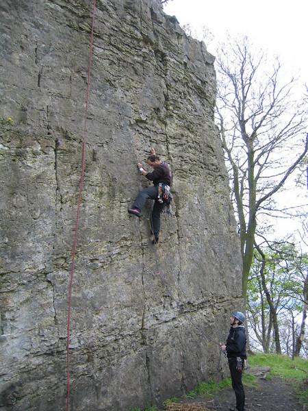 Outcrop climbing at Limekilns, Fife