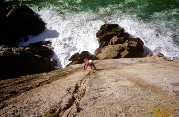 Devils Slide, Lundy. Martina climbing.