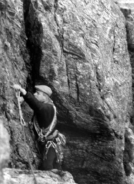 Alex in a pic resembling something out of Classic Rock!<br /> Main Wall,Llanberis Pass.