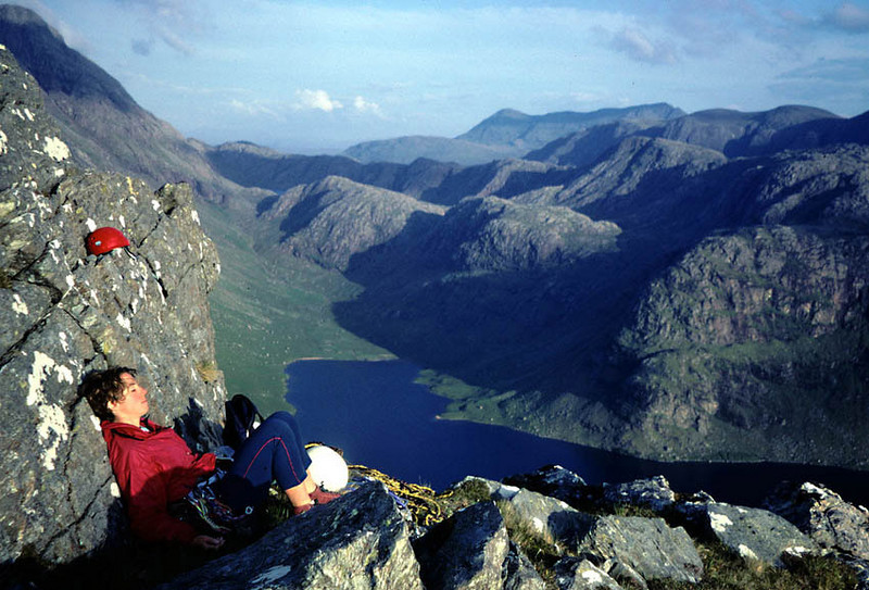 Martina resting above Carnmore Crag, Fisherfield.