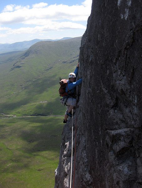 Martina on the last pitch of North Face Route on the Buachaille