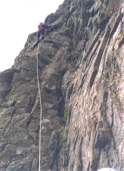 Alex on the third pitch of Agag's Groove on the Buachaille, Glen Coe.