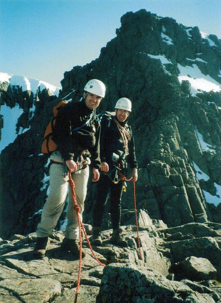 Fraser and Robert on the Great Tower, Tower Ridge , Ben Nevis. Look closely and you'll see Clive, Mary and Scott on the other side of Tower Gap.
