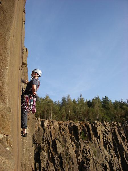 Neil climbing at Cambusbarron Quarry