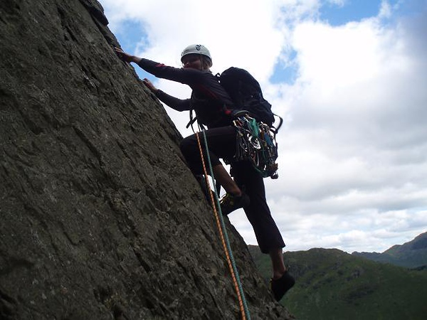 Silke on third pitch of Centipede, Raven's Crag, Lake District