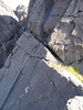 Top of Arrow Route and the bottom of Integrity from the Cioch. Skye.