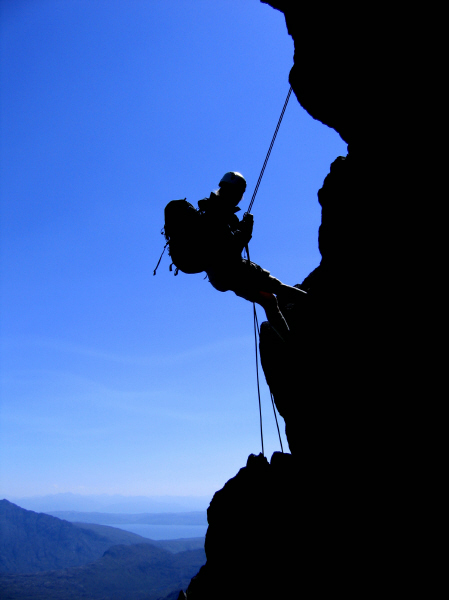 Silke abseiling on the Cuillin Ridge, Skye