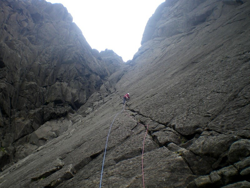 Martine on first pitch of Arrow Route, Coire Lagan, Skye