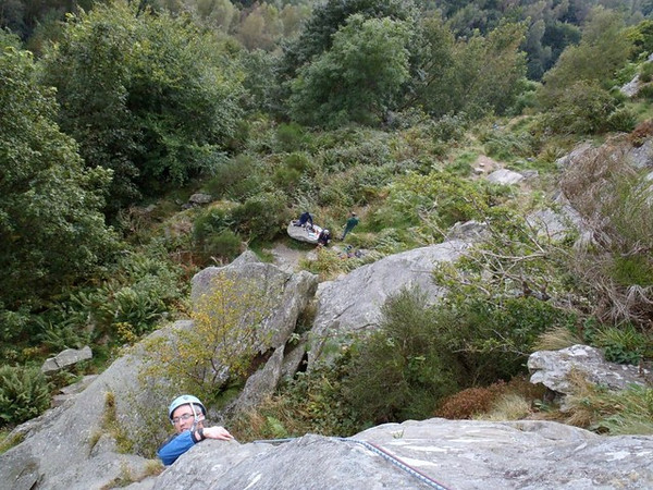 Neil pulls up over The End at Polney Crag, Dunkeld