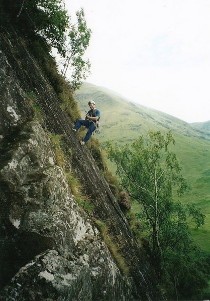 Jon on Sheep Shank Buttress, Polldubh, Glen Nevis.