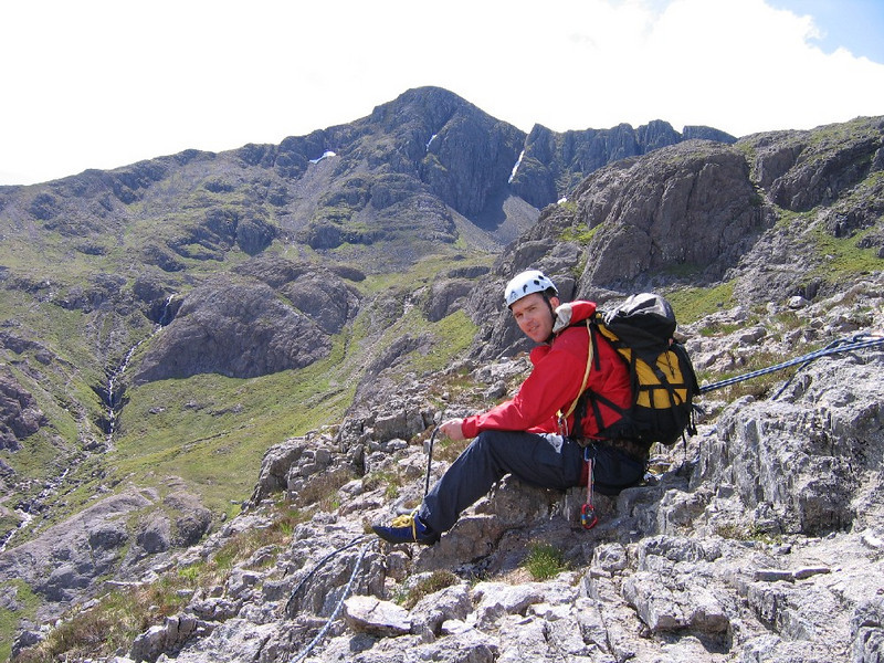 Belay at the top of east face of Aonach Dubh. Stob Coire nan Lochan behind.