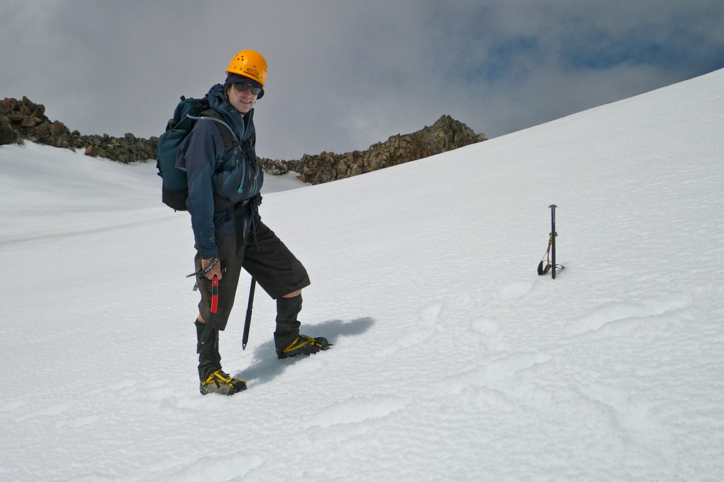 In the crater of Mt Taranaki and first time on crampons!