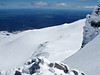 Looking over the skifield, Mount Taranaki on the horizon