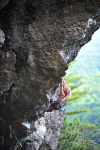 Predator, 5.13b at Orange Crush, NH, USA Climber: Rachel Sargent