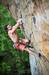 Beat junkie, 5.13b at Main Cliff (Iron Man Wall), NH, USA Climber: Emile Mennin