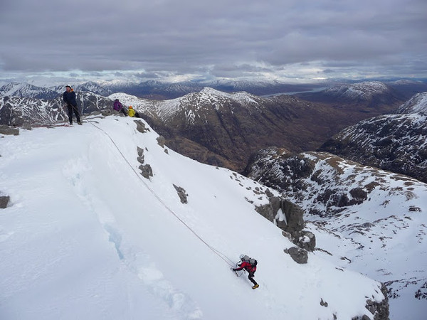 Topping out on Twisting Gully, Stob coire nan Lochan, Glencoe
