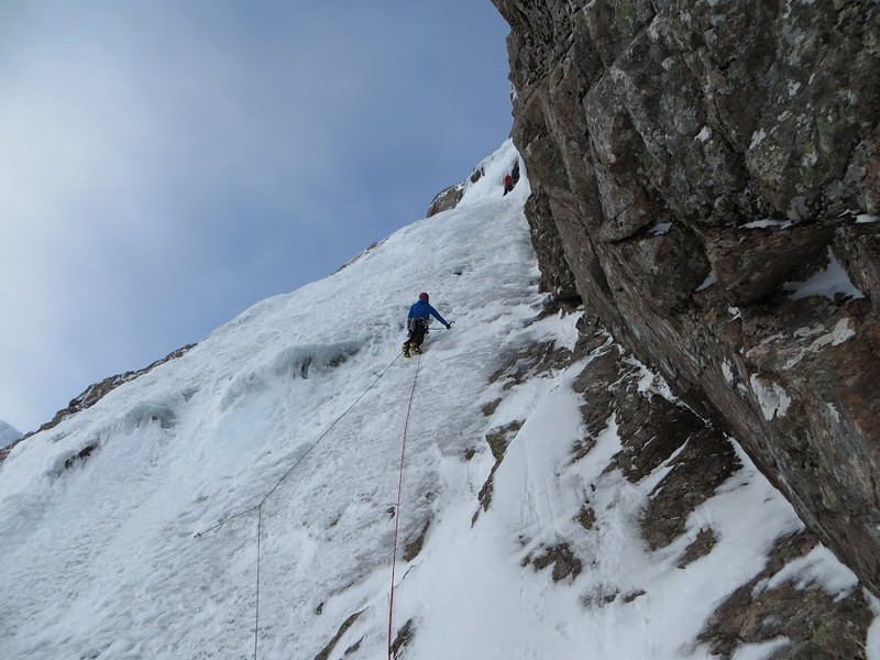 Dave on pitch 1 of the Curtain, Ben Nevis