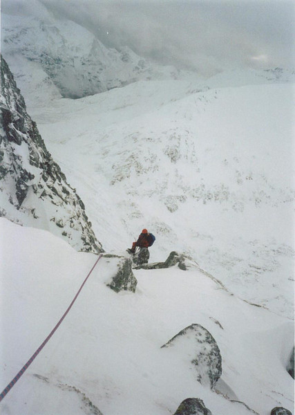 Graham on Golden Oldie, West Face of Aonach Mor.