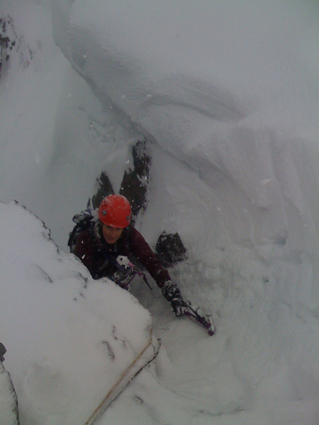 Nicky topping out on North Gully, Ben Nevis