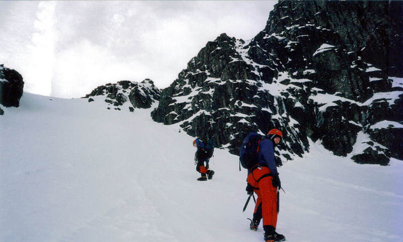 Graham and friend just below the start of Boomerang Gully on Stob Coire nan Lochan