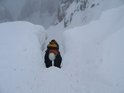 Descent into No.4 Gully, Ben Nevis.