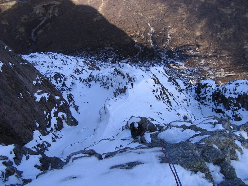 Scott high on Curved Ridge, Buachaille Etive Mor