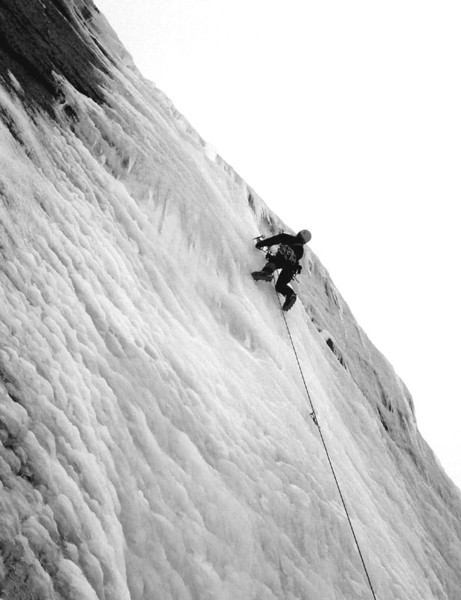 Jamie leading on steep ice.