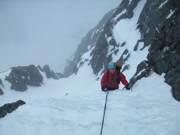 Neil on Green Gully (Grade IV), Ben Nevis