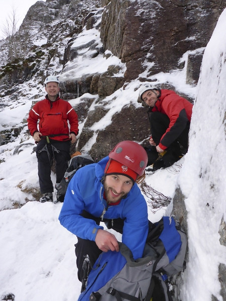 Brian, Soon and Dave gearing up at the bottom of Curved Ridge