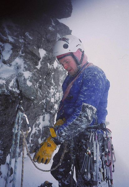 An iced up Dave Kerr on the Cobbler.