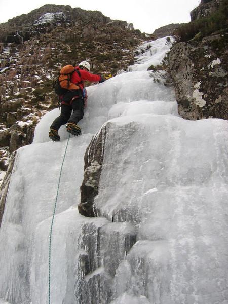 Fraser climbing water ice on Creise, Blackmount