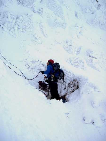 Dave on belay on The Milky Way, Northern Corries
