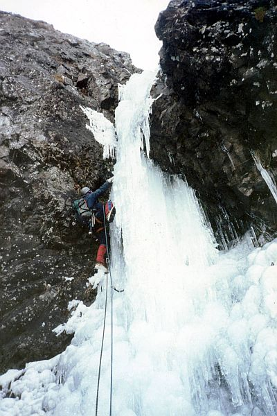 Steep ice for David on Blue Riband in Glen Coe