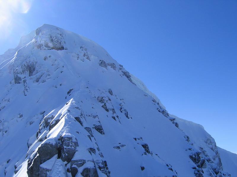 Silke on Ben Nevis belaying just after Tower Gap on Tower Ridge