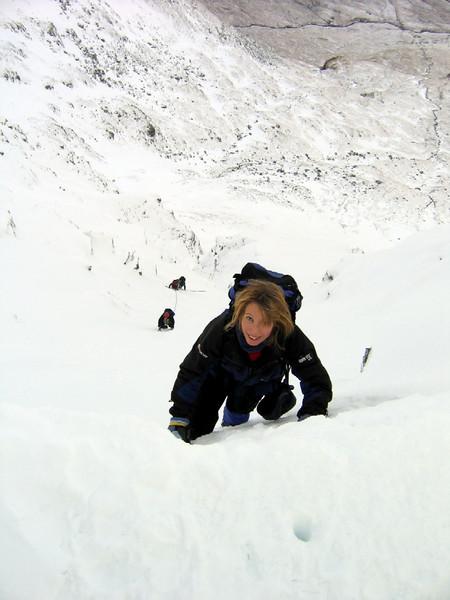 Mel climbing Central Gully on Ben Lui.