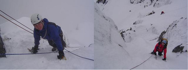 Silke and Neil on No.3 Gully Buttress, Ben Nevis