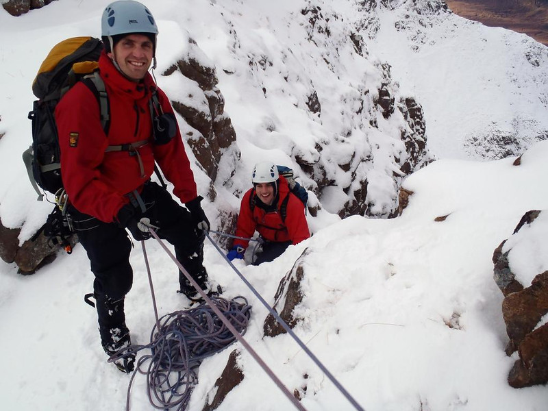 Neil and Dom enjoying themselves on the Northern Pinnacles of Liathach