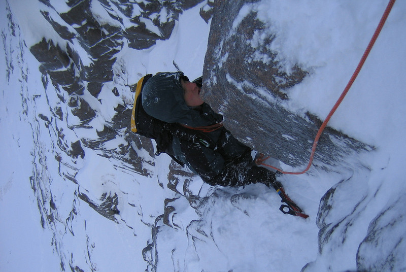 Craig in the Northern Corries of the Cairngorms climbing Broken Gully