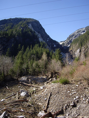 Avalanche / rockslide path.  You can see the scars up the hill.